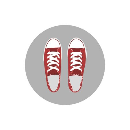 Isolated vector illustration of a pair of red sneakers. Cartoon flat style
