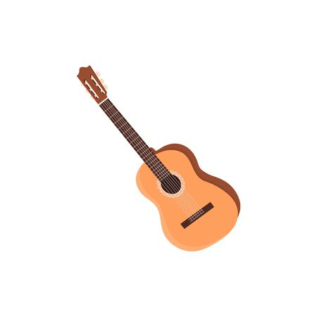 Classical Guitar. Flat Design Vector Illustration Of Hand Drawn Acoustic Guitar