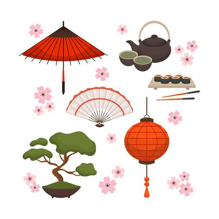 Collection Of Japanese object, souvenirs, accessories. Stock Illustratie