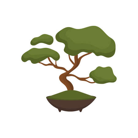 Bonsai tree flat icon design 向量圖像