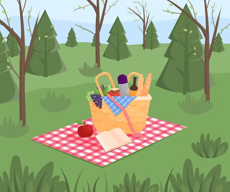 Summer picnic on forest background. Family concept with picnic party stuff. Straw basket, wine and food for outing on public park