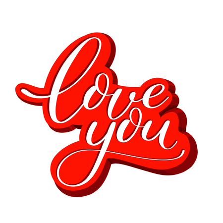 love you red text, Calligraphic love lettering