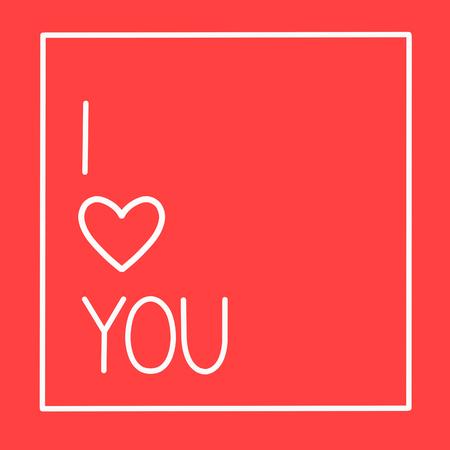 I love you postcard on red background, Calligraphic love lettering Ilustração