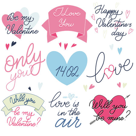Valentine Day text set in romantic pink and blue colors, Calligraphic love lettering Illustration