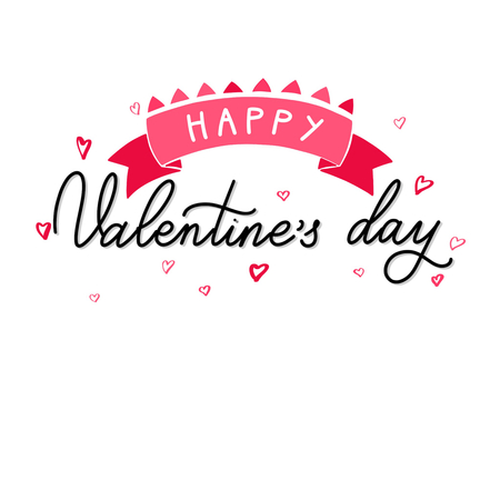 Happy Valentine day text with ribbon, handwritten decorative vector text, Calligraphic love lettering Illustration