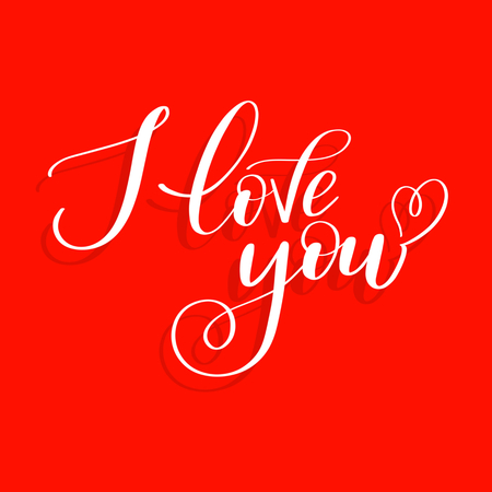 I love you on red background with heart, Calligraphic love lettering Ilustração