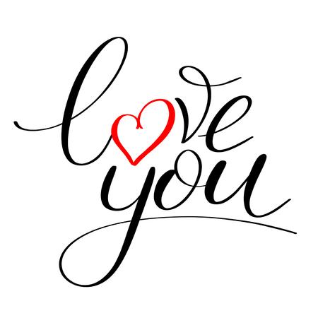 Ik hou van je met rode hart tekst, kalligrafische liefde belettering Stockfoto - 93531585