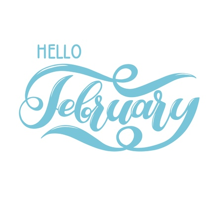 Hello February blue winter handwritten lettering.