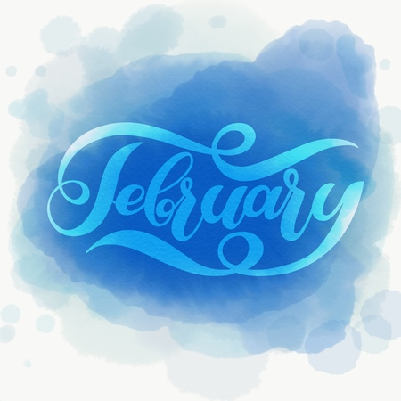 Hello February blue winter handwritten lettering. Winter vector calligraphy watercolor vector background. Ilustração