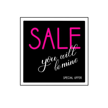 Valentine's day sale banner, calligraphic love lettering. Stock fotó - 93765669