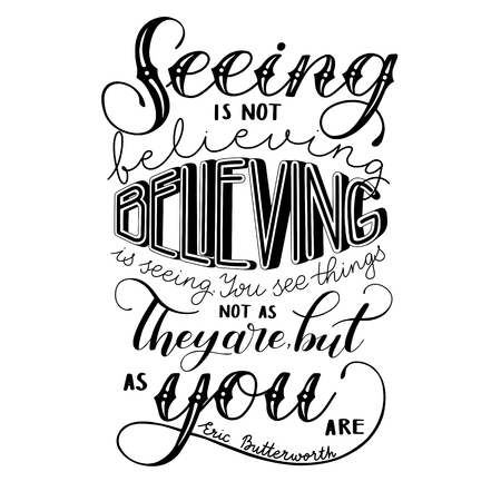 Poster of seeing is not believing, can be printed on postcard vector illustration.