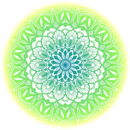 녹색 민족적인 만다라 그림입니다. 흰색 배경에 고립.