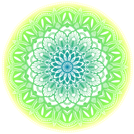 Green ethnic mandala illustration. Isolated on white background. Ilustração