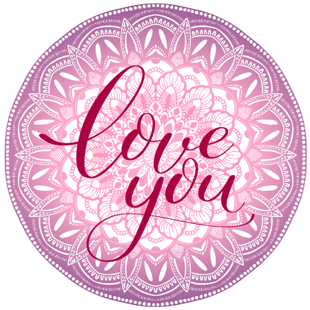 I love you violet abstract vector mandala on Valentine day.