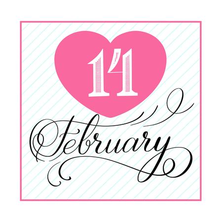 14 February celebration handwritten decorative text, vector, postcard, Calligraphic love lettering Ilustração