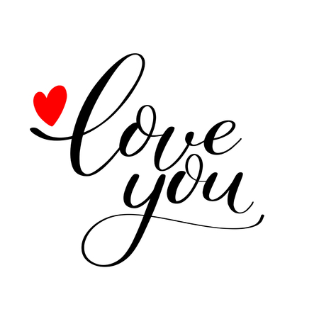 Simple Love you text with red heart, Calligraphic love lettering