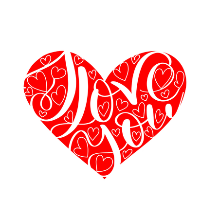 I LOVE you text in red heart shape, Calligraphic love lettering