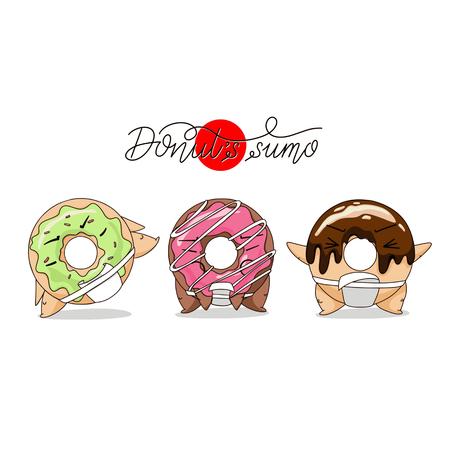Cartoon funny donut sumo illustration.