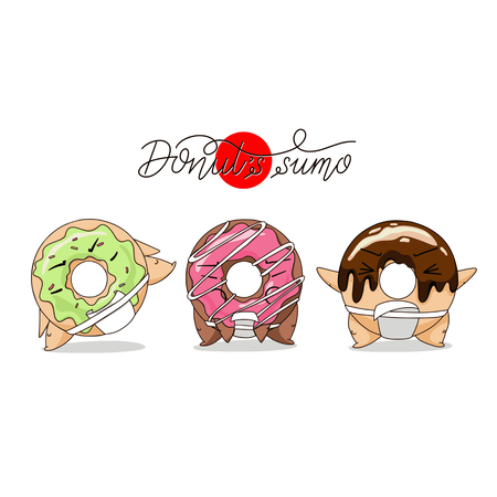 Cartoon funny donut sumo illustration.