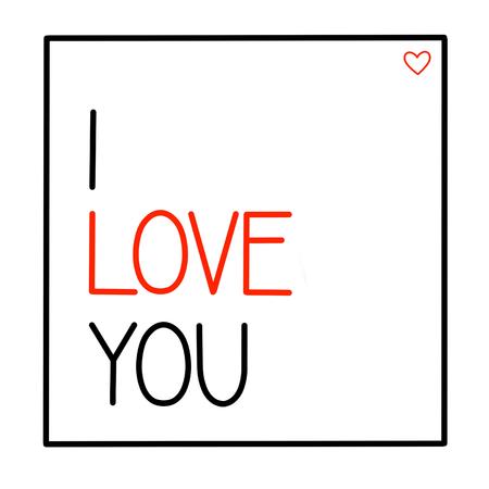 I love you postcard on white background, Calligraphic love lettering Ilustração