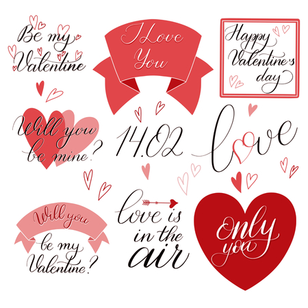 Valentine Day text set in red color, Calligraphic love lettering