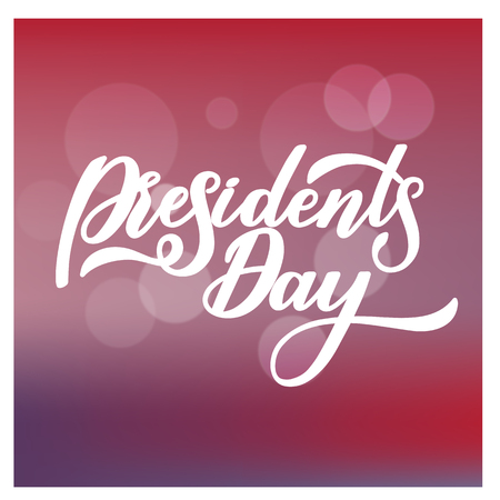 President day handwritten lettering in state colors with stars
