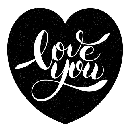 I love you romantic text, Calligraphic love lettering Ilustração