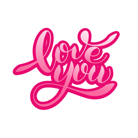 I love you romantic text, Calligraphic love lettering Ilustracja
