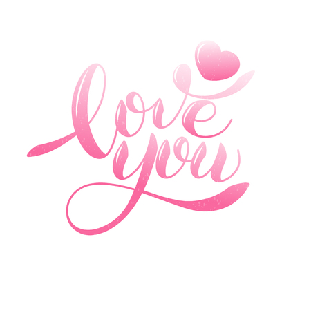I love you romantic text, Calligraphic love lettering Иллюстрация