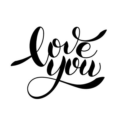 I love you romantic text, Calligraphic love lettering illustration. Ilustração