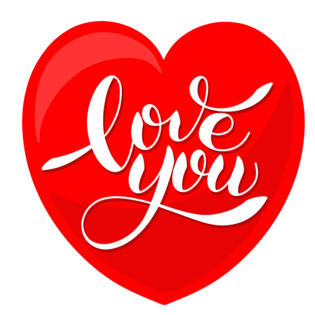 I love you romantic text, calligraphic love lettering in heart shape illustration.