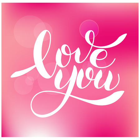 I love you romantic text, calligraphic love lettering on pink background.