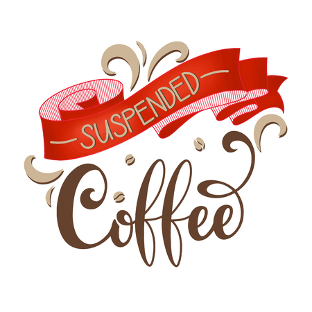Suspended coffee hand draw icon illustration with lettering, vector Vectores