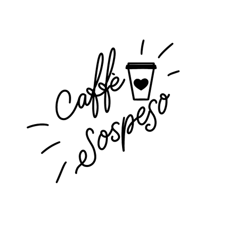 Suspended coffee hand draw logo illustration with lettering, vector