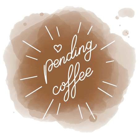 Suspended coffee hand draw icon illustration with lettering, vector Illustration