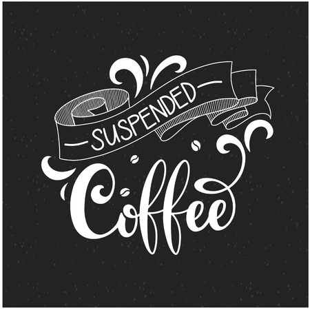 Suspended coffee hand draw icon illustration with lettering, vector Çizim