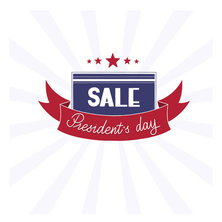 President day sale handwritten lettering in state colors with stars. Ilustração