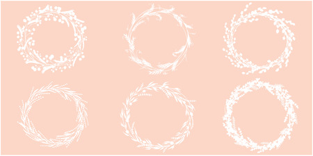 Wreath hand drawn vector set. Wedding floral wreaths. Elements for invitations, posters, greeting cards and logos