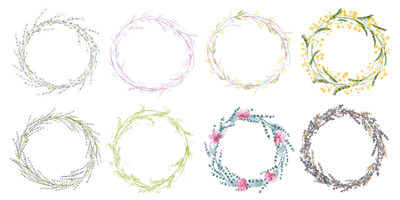 Wreath hand drawn vector set wedding floral wreaths. Elements for invitations, posters, greeting cards and icons. Vettoriali