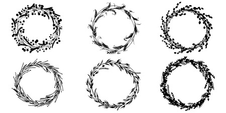 Wreath hand drawn vector set wedding floral wreaths. Elements for invitations, posters, greeting cards and icons. Stock Illustratie