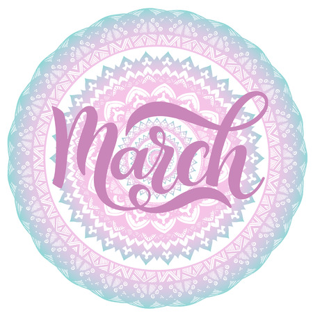 Hello March spring lettering. Elements for invitations, posters, greeting cards