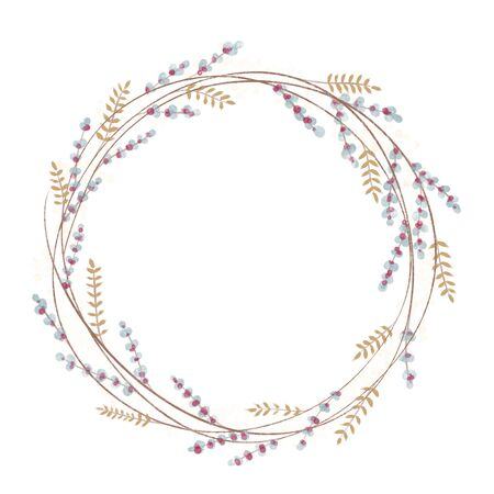 Wreath hand drawn. Wedding floral wreaths. Elements for invitations, posters, greeting cards