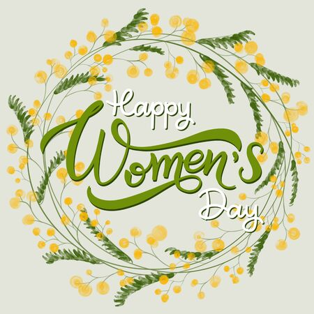 Happy Womens Day Greeting Cards. 8 March lettering with flowers wreath Stock Photo