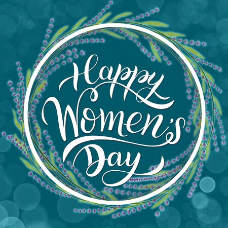 Happy Womens Day Greeting Cards. 8 March lettering with flowers wreath Reklamní fotografie
