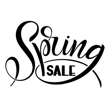 Spring Sale handwritten lettering. Calligraphic hand drawn sign. Text for prints and posters, greeting cards. Vector illustration.