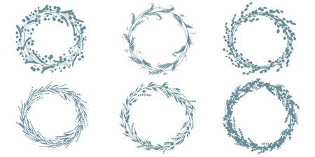 Wreath hand drawn vector set, wedding floral wreaths. Elements for invitations, posters, greeting cards and icons. Vettoriali