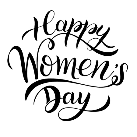 Happy Womens Day Greeting Cards. 8 March lettering. Banner for the International Womens Day Vettoriali