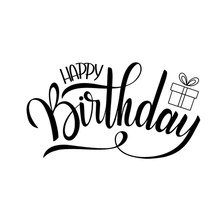 Happy birthday lettering. Holiday text and decorations. Greeting Card and Poster Фото со стока - 95913663
