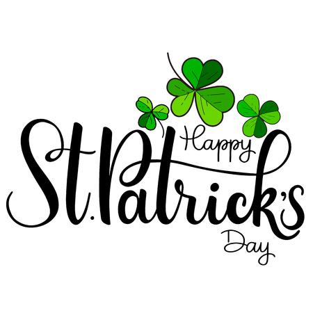 Illustrazione di vettore di felice giorno di San Patrizio. Design di celebrazione irlandese. Icona di tipografia lettering festival. Distintivo di tipografia disegnato a mano con acetosella e arcobaleno. Archivio Fotografico - 96183469