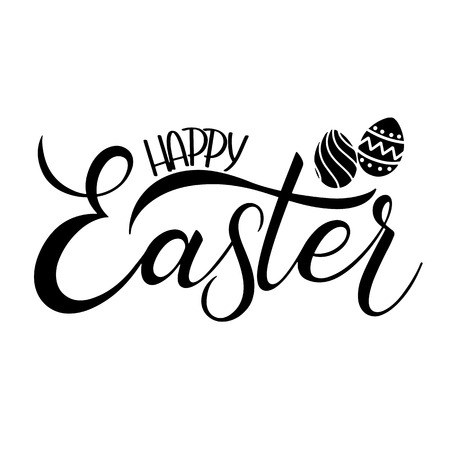 Hand written Happy Easter lettering.